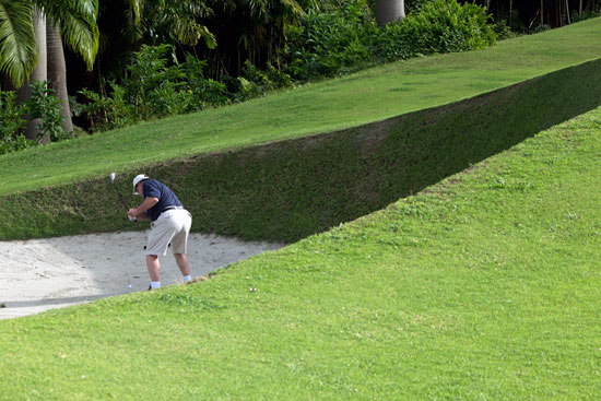 In the bunker at the Apes Hill Golf Club in Barbados