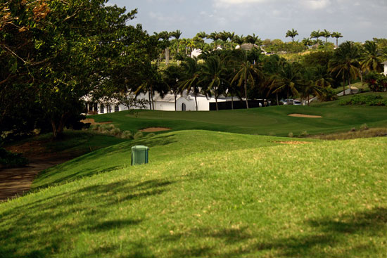 Standing on the tee box at the Royal Westmoreland Golf Course in Barbados.