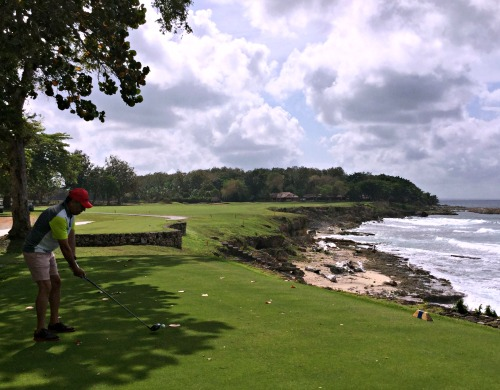 On the tee box at the Teeth of the Dog golf course at Casa de Campo in the Dominican Republic