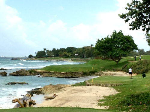 On the tee box hole number 7 par 3 on the Teeth of the Dog golf course in the Dominican Republic