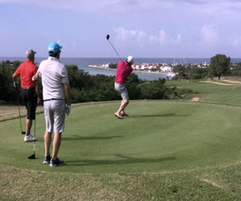 On the tee box on the Dye Fore Course at Casa de Campo