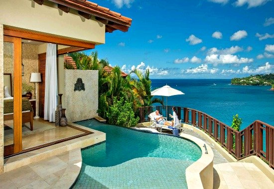 Ocean View Suite with a private pool at Sandals Regency La Toc in St. Lucia