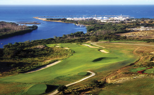 A view of the marina from the fairway at the Dye Fore Golf Course at Casa de Campo