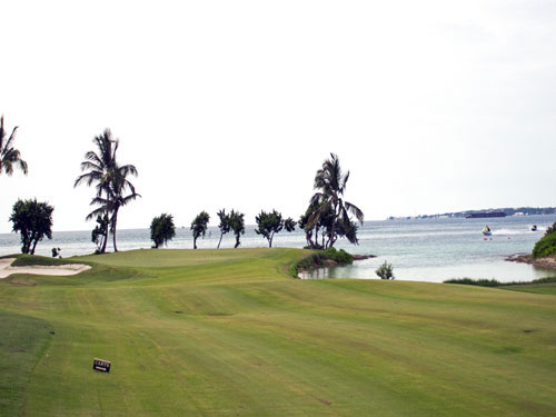 The signature hole at Ocean Club golf on Paradise Island in the Bahamas