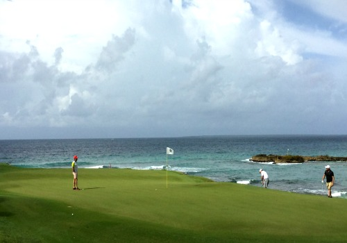 On the green at the Teeth of the Dog golf course in the Dominican Republic